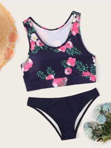 Floral Cut Out Back Racerback Bikini Set