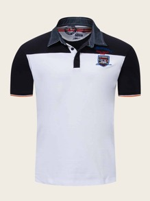 Men Contrast Collar Embroidery Colorblock Polo Shirt