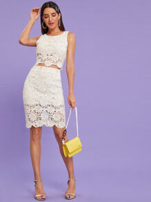 Guipure Lace Tank Top & Pencil Skirt