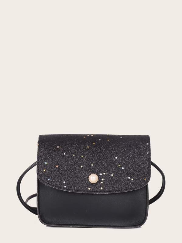 4d3b633d0c Girls Glitter Detail Flap Crossbody Bag