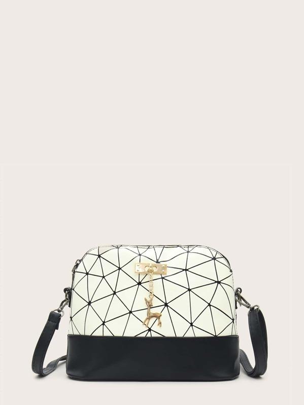 bfcf9776c7 Geometric Print Deer Charm Crossbody Bag