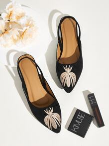 Embroidered Point Toe Slingback Flats