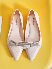 Point Toe Bow Decor Flats