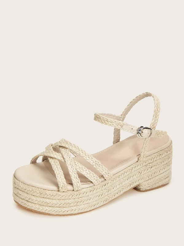 cf6173626b1 Open Toe Cross Strap Espadrille Wedges