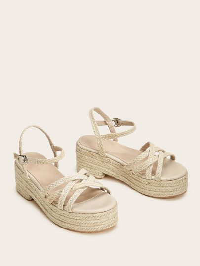 fe1c4f26e08 Open Toe Cross Strap Espadrille Wedges | ROMWE
