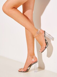 Clear Strap Snakeskin Detail Chunky Heels