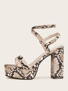 Snakeskin Ankle Strap Chunky Heels