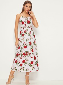 Braid Strap Faux Pearl Detail Floral Cami Dress