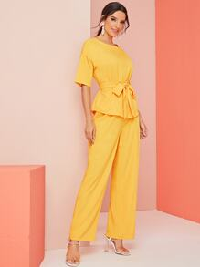 Solid Tie Front Drop Shoulder Top & Pants Set
