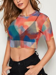 Tie Dye Sheer Crop Fishnet Tee