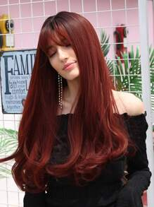 Natural Long Straight Wig With Bangs