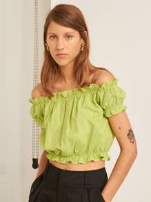 Premium Off Shoulder Ruffle Trim Top