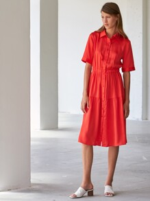 Button Front Solid Satin Shirt Dress