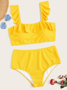 Plus Ruffle Trim Textured Bikini Set