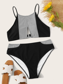 Plus Contrast Striped Cut Out Bikini Set