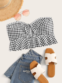Plus Gingham Knot Front Swimming Top