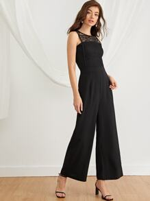 Contrast Lace Yoke Solid Jumpsuit