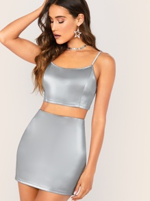 PU Crop Cami Top & Bodycon Skirt Set