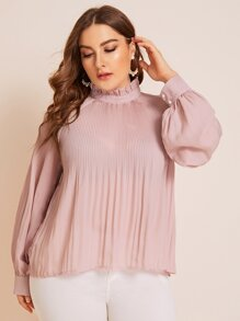 Plus Pleated Frill Neck Tie Back Blouse