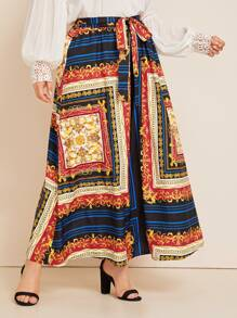 Plus Scarf Print Belted Maxi Skirt
