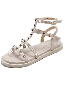 Studded Decor Double Buckle Strap Sandals