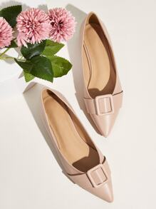 Point Toe Buckle Decor Flats