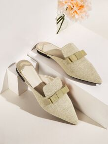 Bow Decor Point Toe Flat Mules