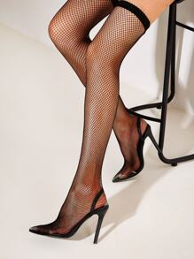 Thigh High Mesh Panel Stiletto Heels
