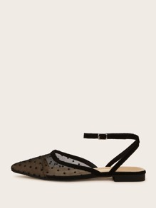 Point Toe Polka Dot Ankle Strap Flats