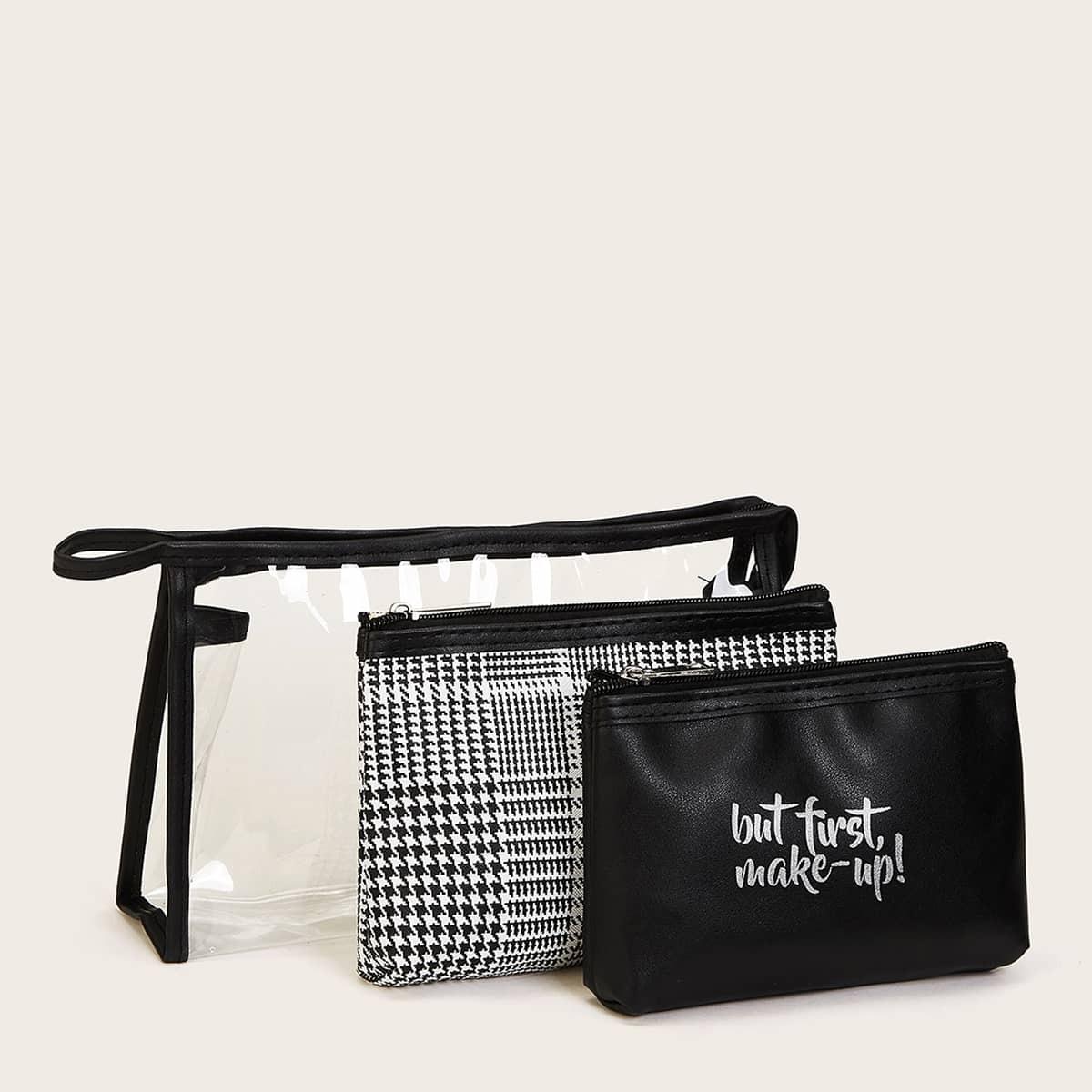 Набор сумка для макияжа с текствым принтом 3шт.