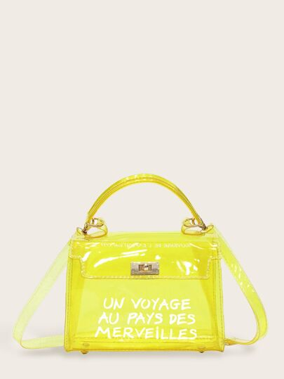 Slogan Print Flap Satchel Bag