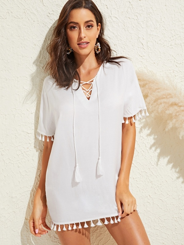 456f275c8cc Lace Up Tassel Hem Solid Tunic Cover Up | SHEIN UK