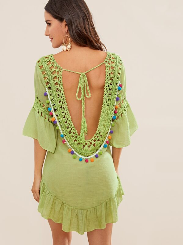 5adb5f1875 Ruffle Trim Tie Back Pompom Crochet Cover Up | SHEIN