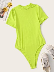 Neon Lime Rib-knit Bodysuit