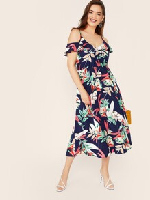 Plus Plants Print Ruffle Trim Cold Shoulder Dress