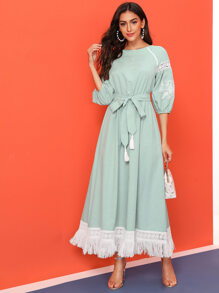 Lace Insert Fringe Hem Embroidered Detail Belted Dress
