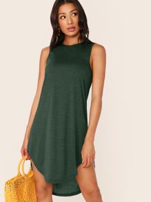 High Low Curved Hem Tank Dress