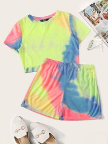Tie Dye Print Top & Shorts Set