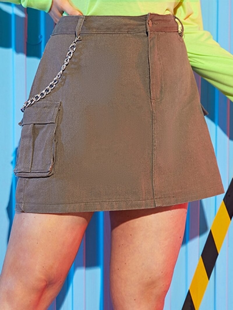 Plus Chain Detail Double Pocket Denim Skirt by Romwe