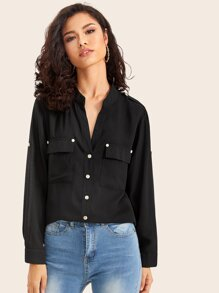 Button Front Pocket Front Solid Blouse