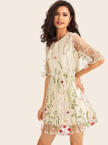 Floral Embroidery Button Keyhole Mesh Dress