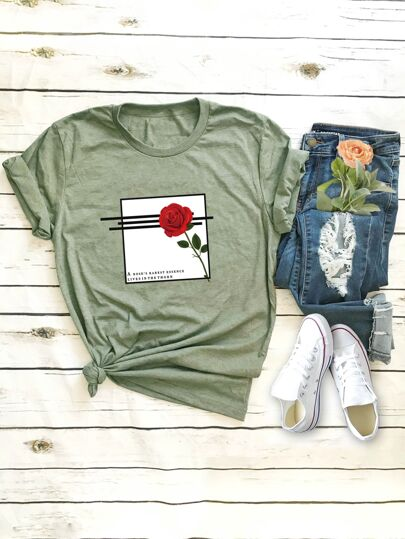 Rose & Letter Graphic Tee