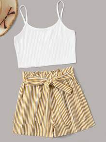 Rib-Knit Crop Cami Top With Striped Belted Shorts