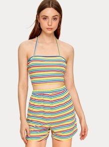 Rainbow Stripe Halter Top With Shorts