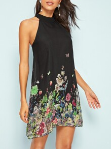 Floral Print Halter Neck Tunic Dress