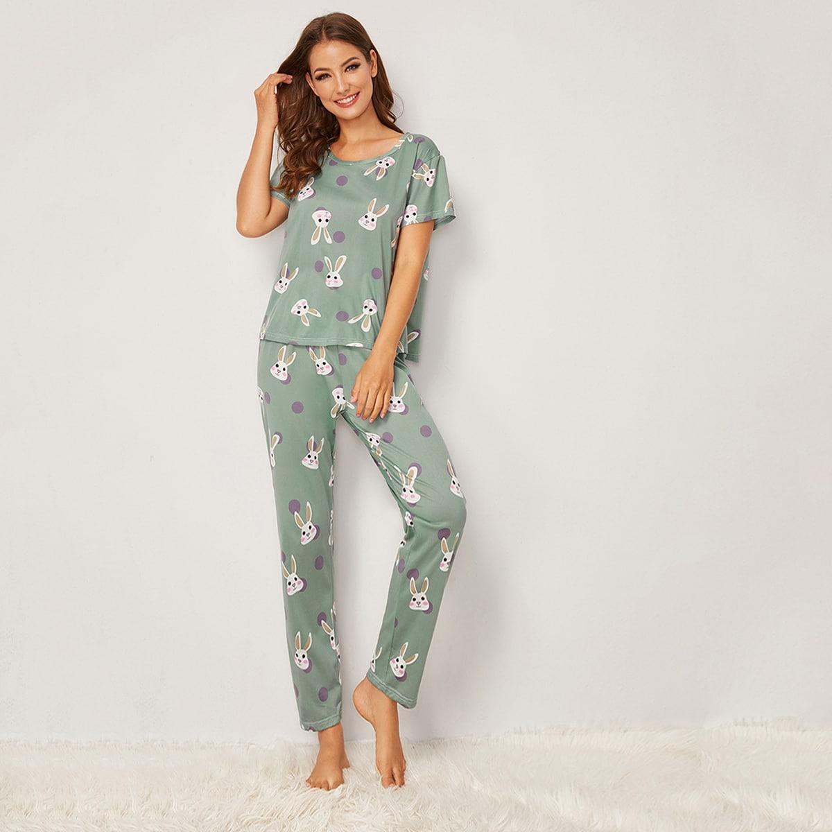 Пижама в горошек с графическим принтом