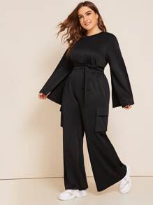 Plus Split Sleeve Belted Crop Top & Pants Set