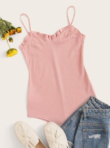 Ribbed Frill Trim Cami Bodysuit