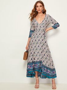 Tribal Paisley Self Tie Wrap Dress