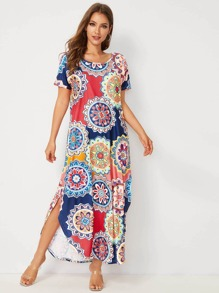 Tribal Print Curved Hem T-shirt Dress